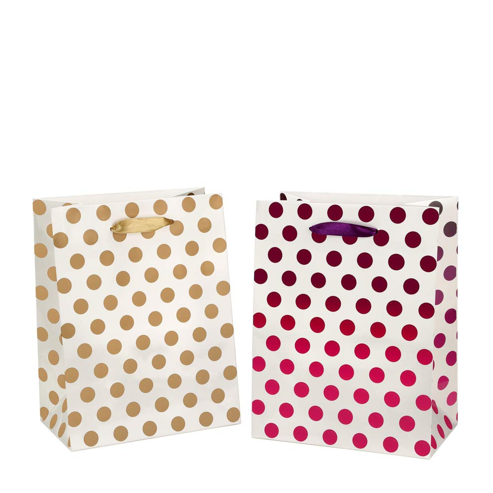 Medium Gift Bags 8x4.75x10.5'' Paper Shopping Bags 12 Pack - 6 Gold and 6 Purple Polka Dot Gift Bags Perfect for Weddings, Birthday and Graduation Presents, Gift Wrap Bags