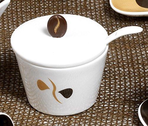 confezionata con elegante scatola Zuccheriera con cucchiano Collezione Mandorle Bomboniera in porcellana