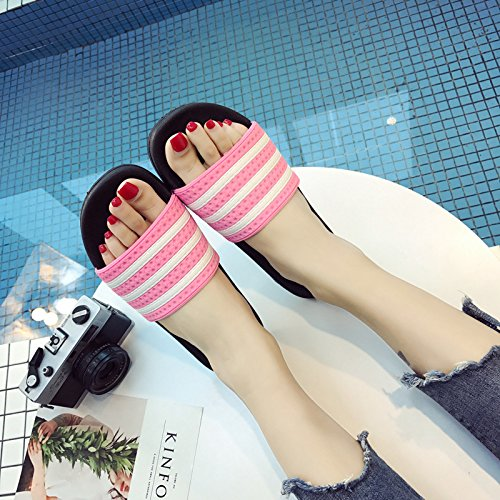 slip outside inside home slippers thick the sand 37 Pink slippers Summer cool anti fankou 38 stripe and and women men 78t6Avwq