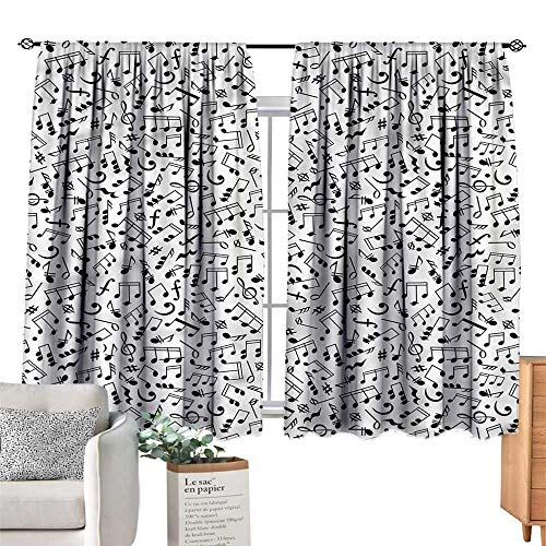 Mannwarehouse Exquisite Curtain Black and White Notes and Chord W55 xL39 Suitable for Bedroom,Living,Room,Study,etc.]()