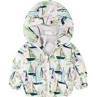 Surwin Cremallera Chaqueta para Bebés, Capucha Abrigo Viento Outwear Chaqueta a Prueba De Viento para bebés niñas niños…