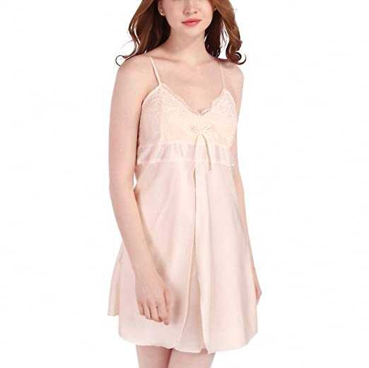 Womens Lace Nightgowns Faux Silk Spaghetti Straps Pijamas Mujer Summer Sleepwear Sleepshirts Women Sexy Underwear at Amazon Womens Clothing store: