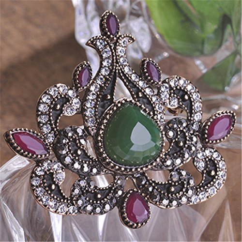 (Turkish Big Brooches For Women Heart Love Acrylic Crystal Flower Scarf Pins Decoration Women Bouquet Dress Jewelry Green )