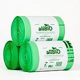6 Litri x 150 sacchetti allBIO Sacchetti Pattumiera Organico 100% Biodegradabili e Compostabili 6 Litri / Sacchetti Contenitore Rifiuti