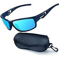 Sportzonnebril Gepolariseerd voor Heren Dames Fietsen Rijzonnebril met UV 400-Bescherming, Onbreekbare Zonnebril…