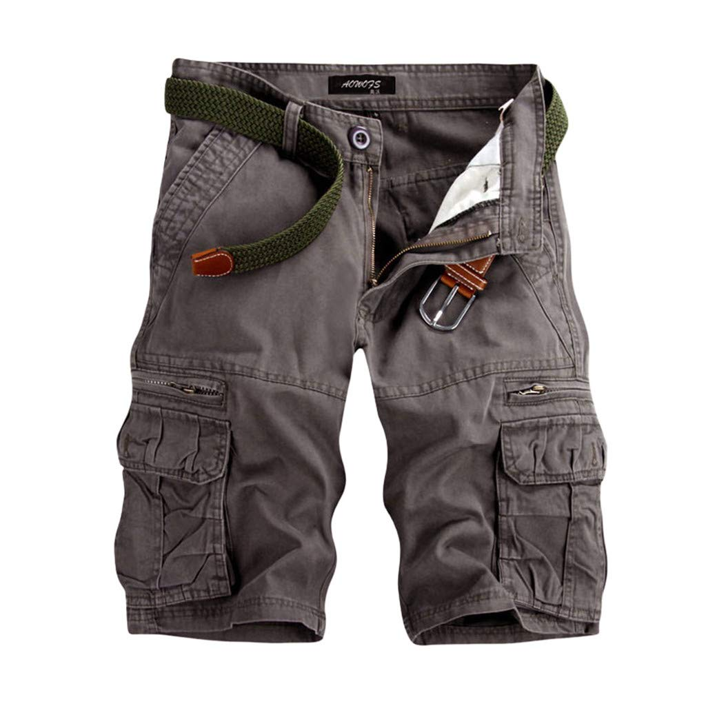 Men's Twill Cargo Shorts - Men Loose Fit Combat Knee Length Short Trousers with Multi Pocket - Outdoor Wear Lightweight Tactical Pants (32, Gray) by Leadmall Pants