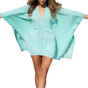ZHOUBA Mujeres Moda Verano Sun Playa Blusa Abrigo Bikini Cuello V Camisa, Blue + Green