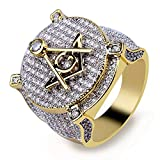 TOPGRILLZ Hip Hop 14K Gold Plated Iced out Simulated Diamond Bling AG Free Masonic Ring for Men