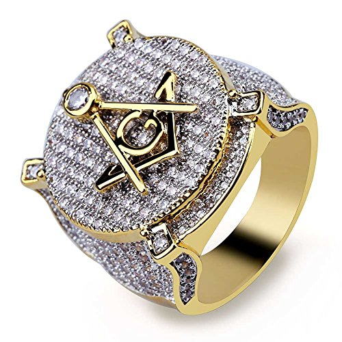 TOPGRILLZ Hip Hop 14K Gold Plated Iced Out CZ Bling AG Free Mason Ring for Men (8) ()