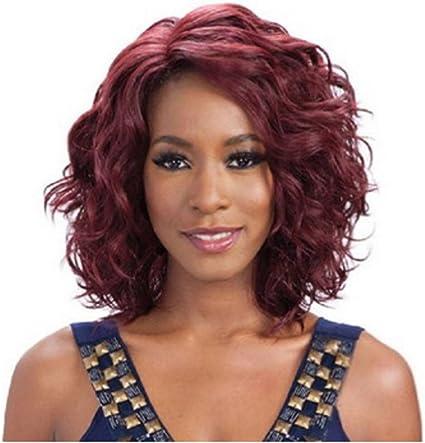 Señoras Moda Peluca Cabeza Pelo Largo Rizado Medio Vino Rojo ...