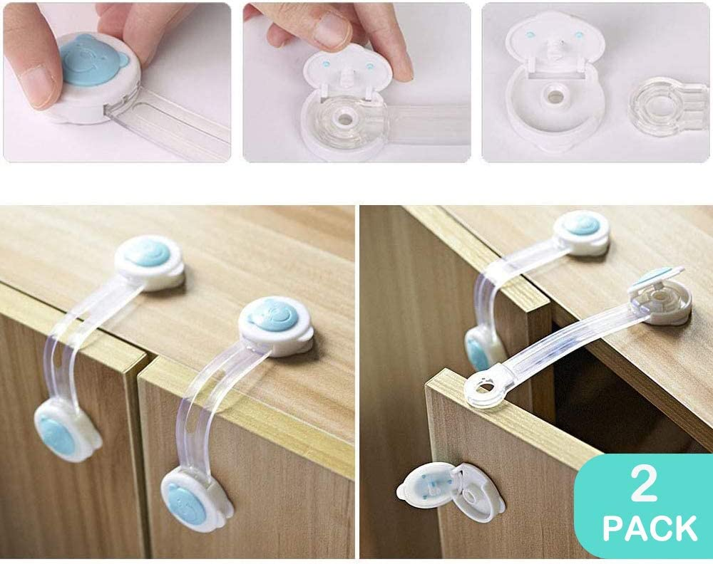 No Drill Needed 2 Baby Safety Finger Pinch Guard Door Stoppers Child Safety Locks Set 18pcs 4 Cabinet Locks Conber Baby Proofing Kit 2 Cupboard Straps 10 Clear Corner Protectors