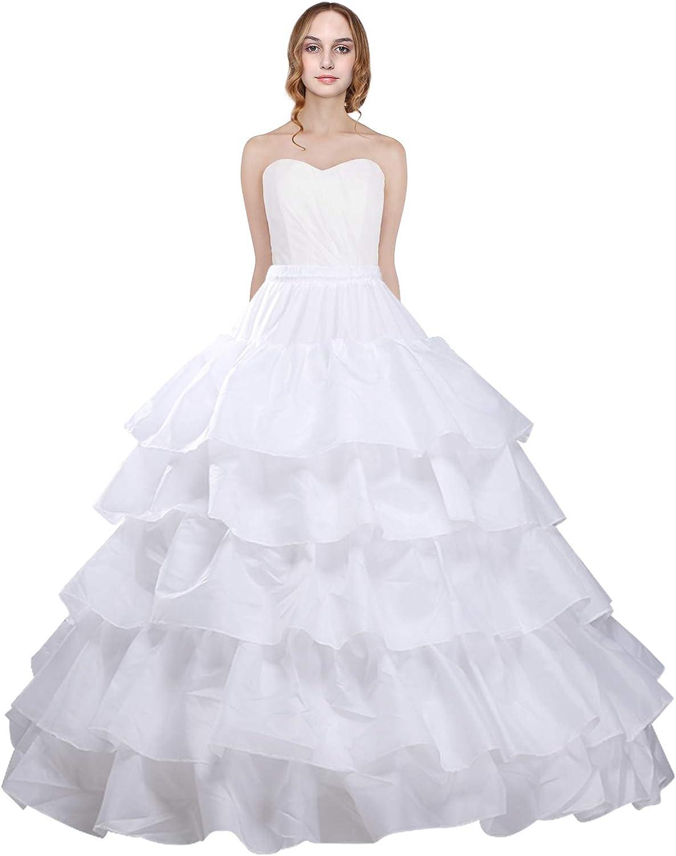 4 Hoop Crinoline Bridal Wedding Underdress Gown Slip Prom Underskirt Petticoat