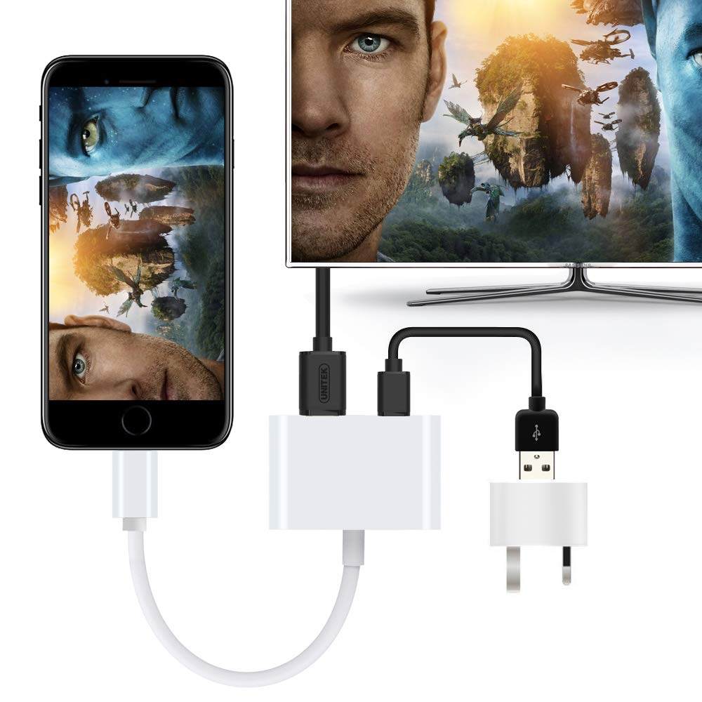 Lightening to HDMI Adapter Cable Sync Screen HDMI Connector Compatible with Phone // Pad i-O-S 11 and Before Lightening Digital AV Adapter 1080P Lightening to HDMI