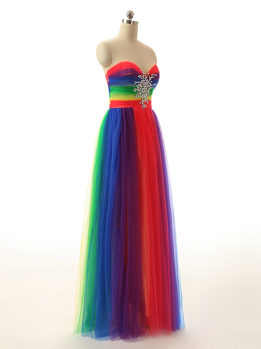 100% genuine how to choose on feet images of JAEDEN Colorful Rainbow Evening Dresses Long Prom Gown Sweetheart  Multicoloured Colorful US22W