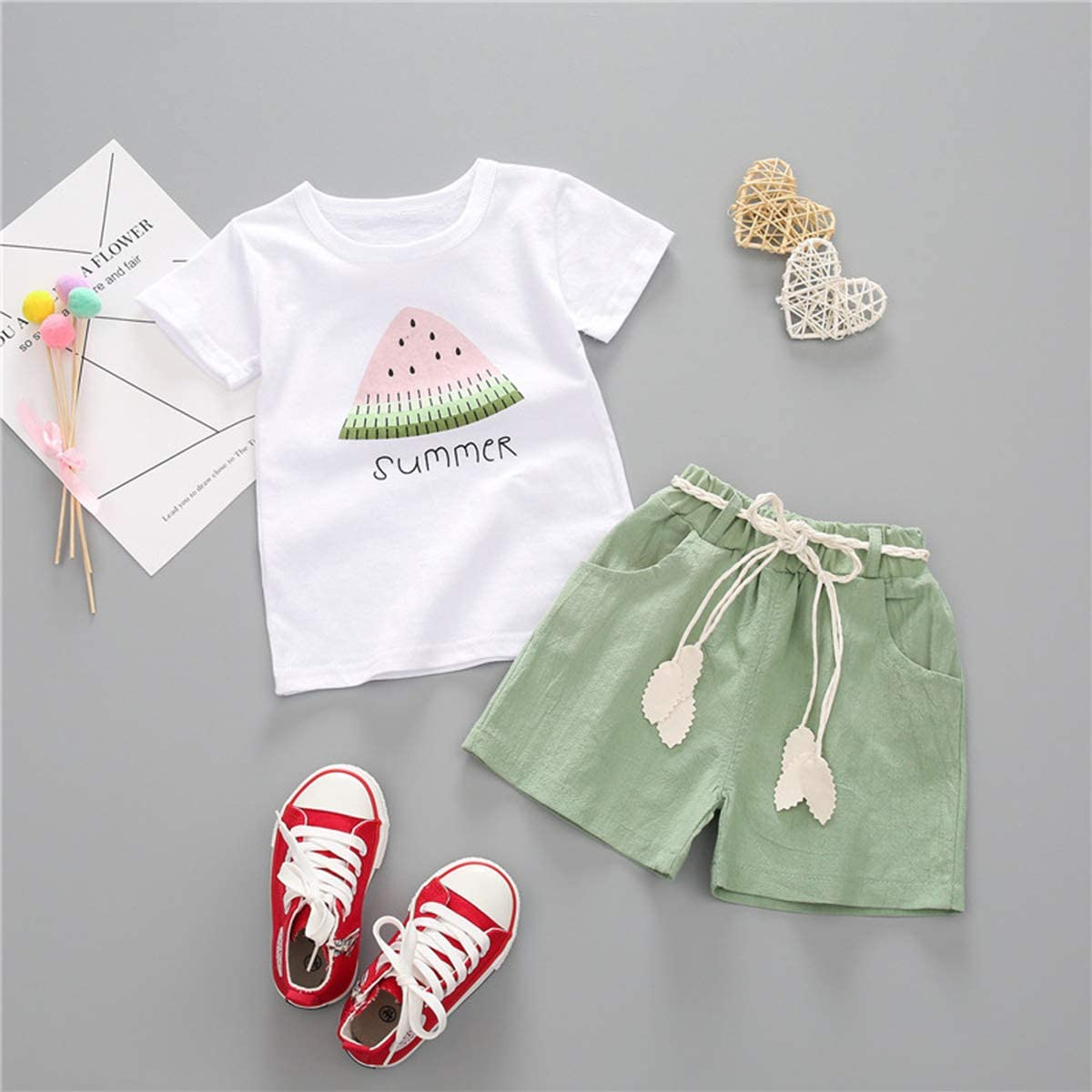 YOUNGER TREE Toddler Baby Girls Clothes Watermelon T-Shirt Linen Shorts with Belt Cute Summer Short Set