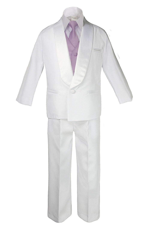 7pc Boys White Satin Shawl Lapel Suits Tuxedo EXTRA Lilac Necktie /& Vest Set