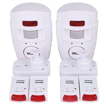 WER Alarma del Sensor de Movimiento de casa Alarma hogar de Movimiento + 2 mandos a