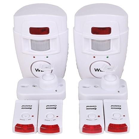 WER Alarma del Sensor de Movimiento de casa Alarma hogar de Movimiento + 2 mandos a Distancia (No Incluidas Pilas): Amazon.es: Electrónica