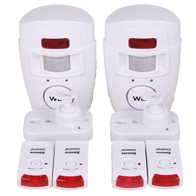 WER Alarma del Sensor de Movimiento de casa Alarma hogar de Movimiento + 2 mandos a Distancia (No Incluidas Pilas)