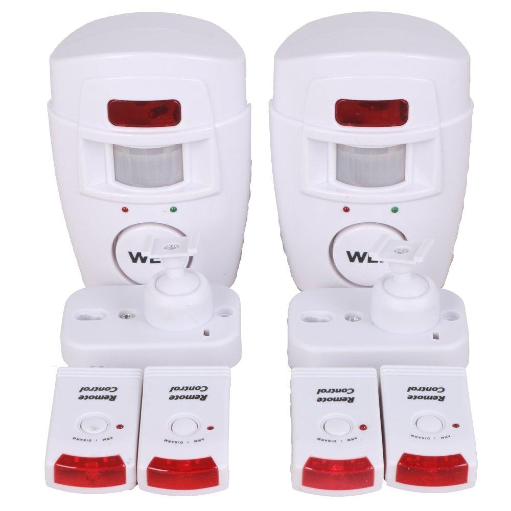 WER Wireless Security Senor Home Garage Store Security Surveillance Alarm Remote Control Anti-theft Alarm(2 Pack)