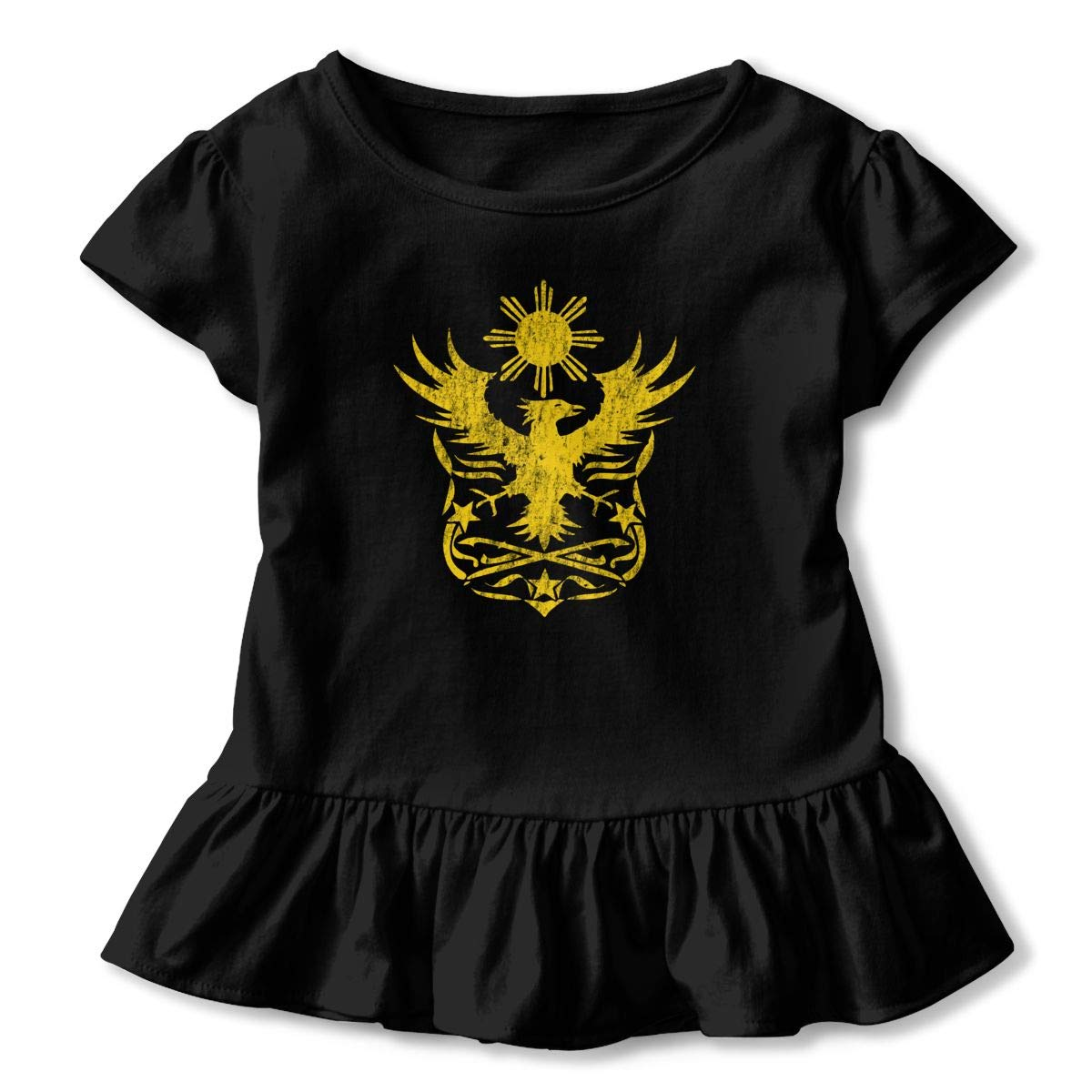 Philippine Eagle Toddler Baby Girls Short Sleeve Ruffle T-Shirt