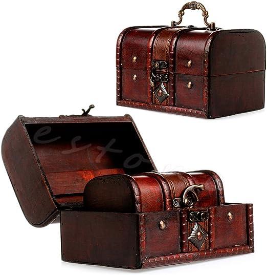 ALANG 2Pcs Set Caja de Almacenamiento de joyería Pirata de Madera Estuche para Caja Cofre del Tesoro Vintage Z07 Envío de la Gota: Amazon.es: Hogar