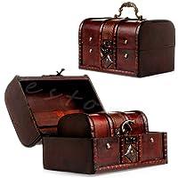 Amrka 2PCS/set portagioie pirata di supporto in legno vintage scrigno del tesoro