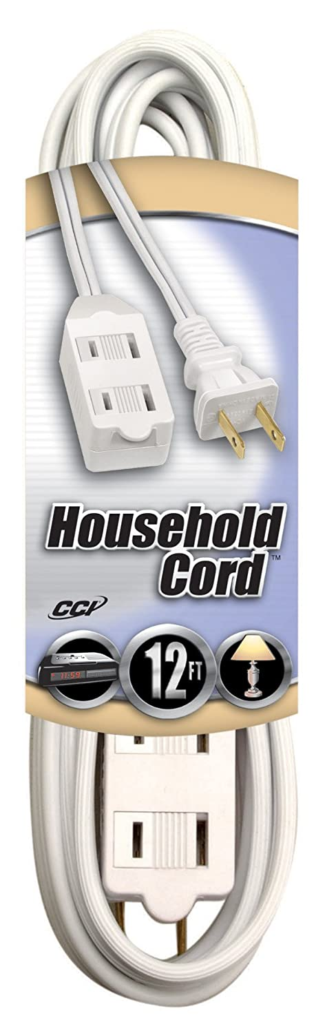White Coleman Cable 09413 Extension Cord with Cube Tap 12-Foot 94138901