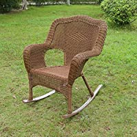 International Caravan 3182-2CH-MO-IC Furniture Piece Resin Wicker Camel Back Rocking Chairs (Set of Two)