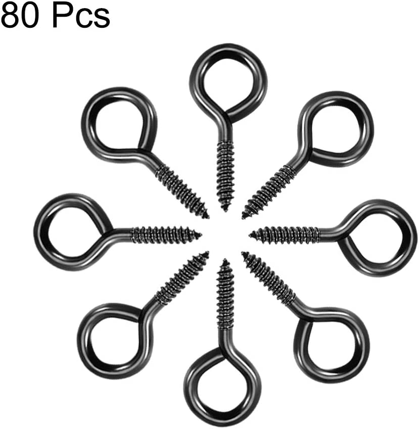 sourcing map 80St/ück 0.39 Schraube /Ösenhaken selbstschneidende Schrauben einschraubbare Aufh/ängeringhaken schwarz