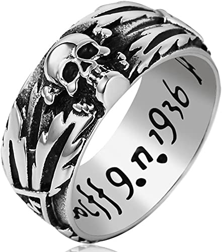 Amazon Com Sainthero Anillos Vintage De Acero Inoxidable Para Hombre Diseño De Calavera Gótica Diseño De Flor Tallada Color Plateado Y Negro Talla 7 12 Jewelry
