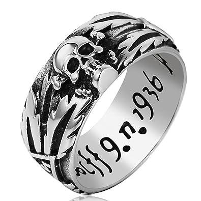 Amazon.com: Vintage banda de acero inoxidable anillos de ...