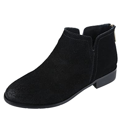 Womens Boots Leather Suede Low Heel Side V Cut Ankle Bootie