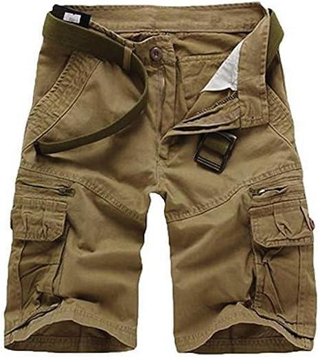 TALLA FR 28 (Asie 30). Elonglin - Pantalón corto para hombre, diseño de Bermudas Cargo para exterior, algodón, estilo casual, para verano, para exteriores, estilo vintage, bermuda