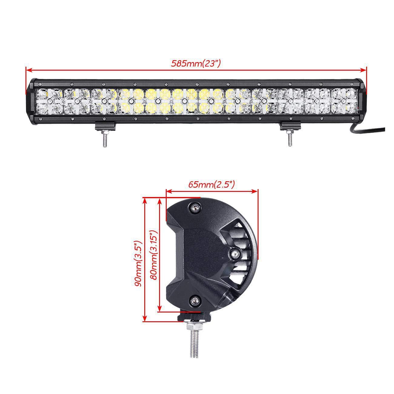 Punktstrahlen 60/° (Floodlight-Modus) Mischlicht Kreuz Objektiv (Mit Tagfahrlicht) Auxbeam LED Arbeitsleuchte BM01E Dual Row LED Lang Streifen Lampe 144W 30/°