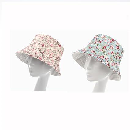 Amazon.com   Pinklife Floral Cotton Women Ladies Summer Bucket Hat ... 76e408a3edd2