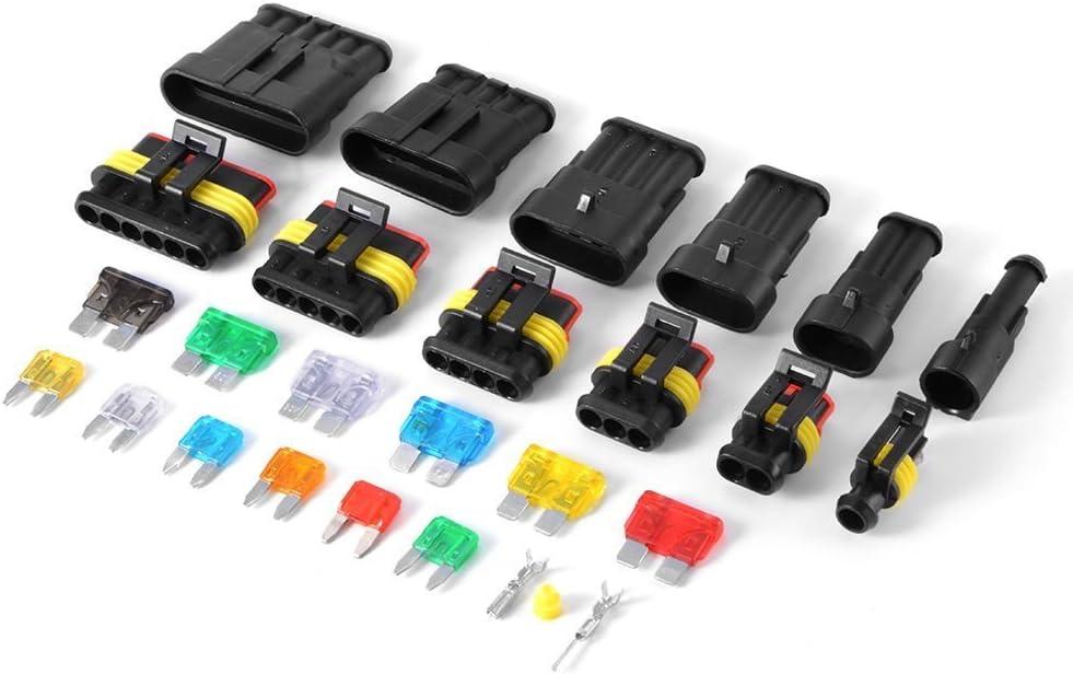 Elektrische Draht Kabel Anschluss Stecker 1 2 3 4 5 6 Stift Weise Klemmen Mit Standard Und Blade Sicherungen 240pcs Auto