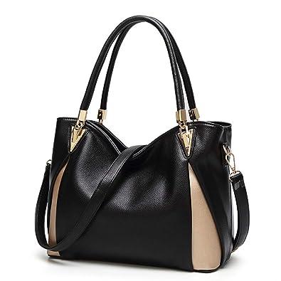 Amazon.com  Montmo Women Soft Leather Handbags Casual Simple Hobo Style  Shoulder Bags Tote Cross Body Purses (Black-1)  Shoes a4adbb4c9b1c2