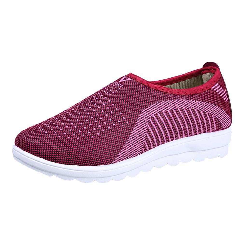 2019 Women's Outdoor Breathable Mesh Flat with Cotton Sneakers Casual Comfort for Walking Stripe Loafers Soft Shoes (Red, Size:39=US:7)