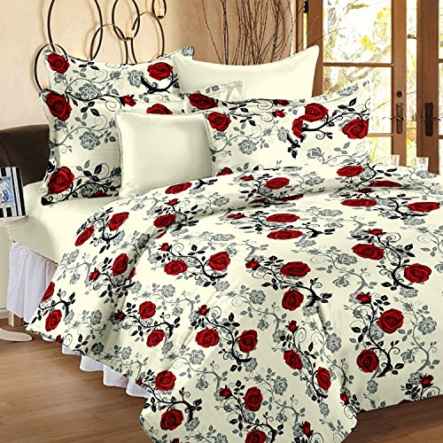 Ahmedabad Cotton Floral 136 TC Cotton Double Bedsheet with 2 Pillow Covers