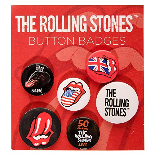 The Rolling Stones Unisex-adult's Lips Badge Set - One Size (Bag Stones Rolling)