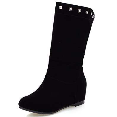 Womens Mid Calf Boots Rivet Faux Suede Leather Wedge Heels Casual Snow Boots
