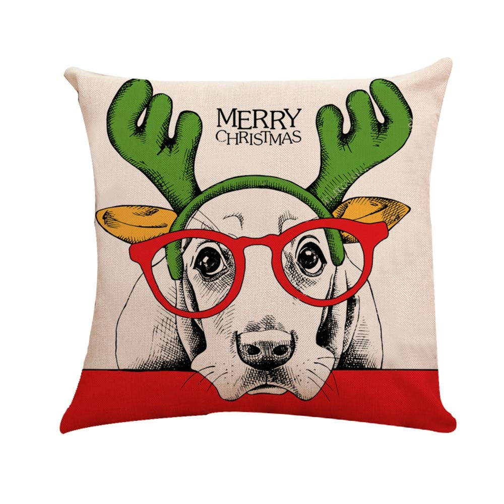 Linen Merry Christmas Home Decorative Pgojuni Throw Pillow Case Waist Cushion Throw Pillow Case Sofa/Couch 1pc 45X45 cm (A)