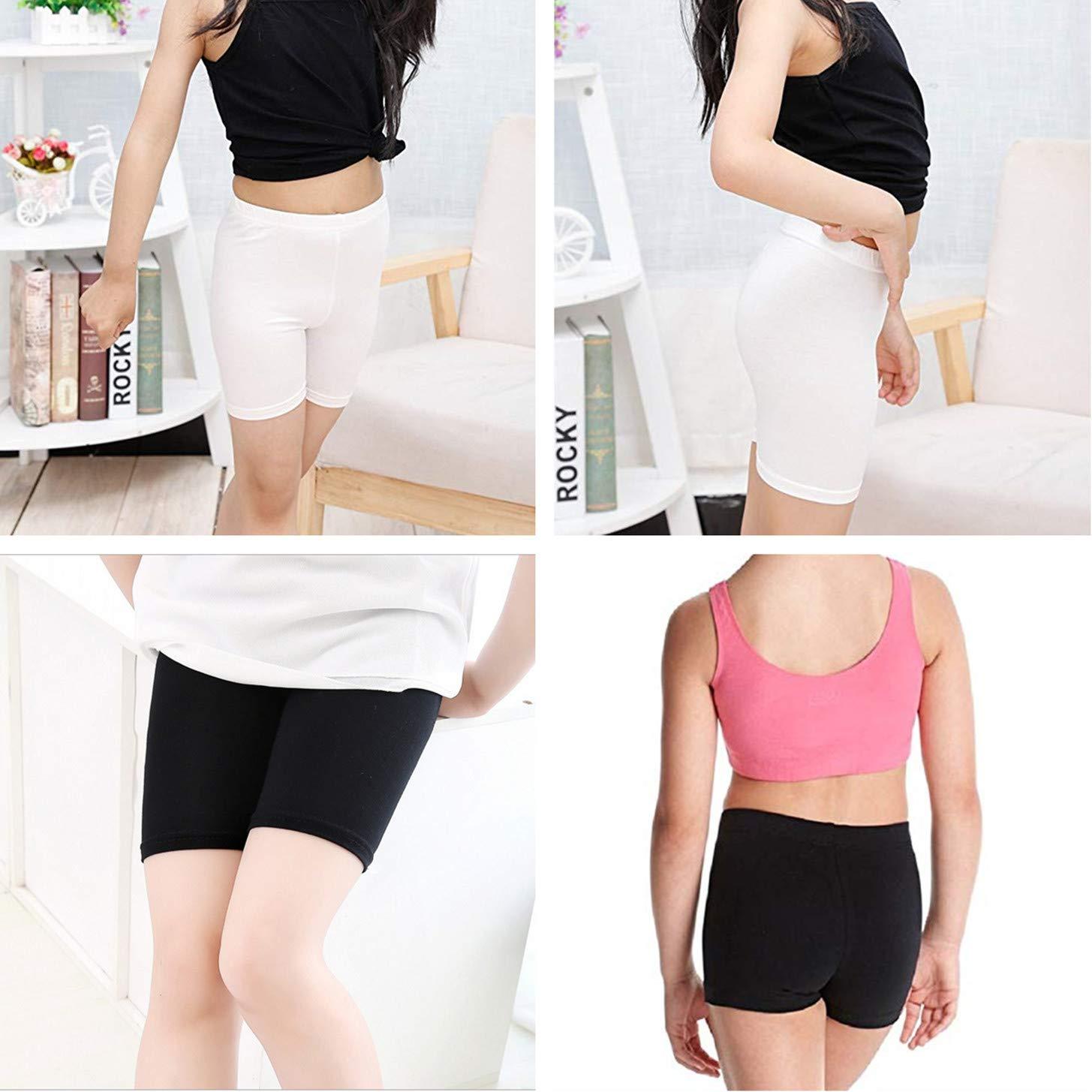 6 Pack Girls Bike Short for Sports Black Under Skirt Shorts for Girls Dance Shorts Under Dress