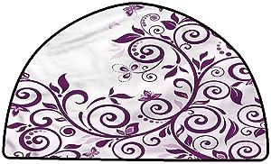 Floor Mats Modern Kitchen Rug Purple,Vine Ivy Branches Swirls,W31 x L20 Half Round Kids Floor mats