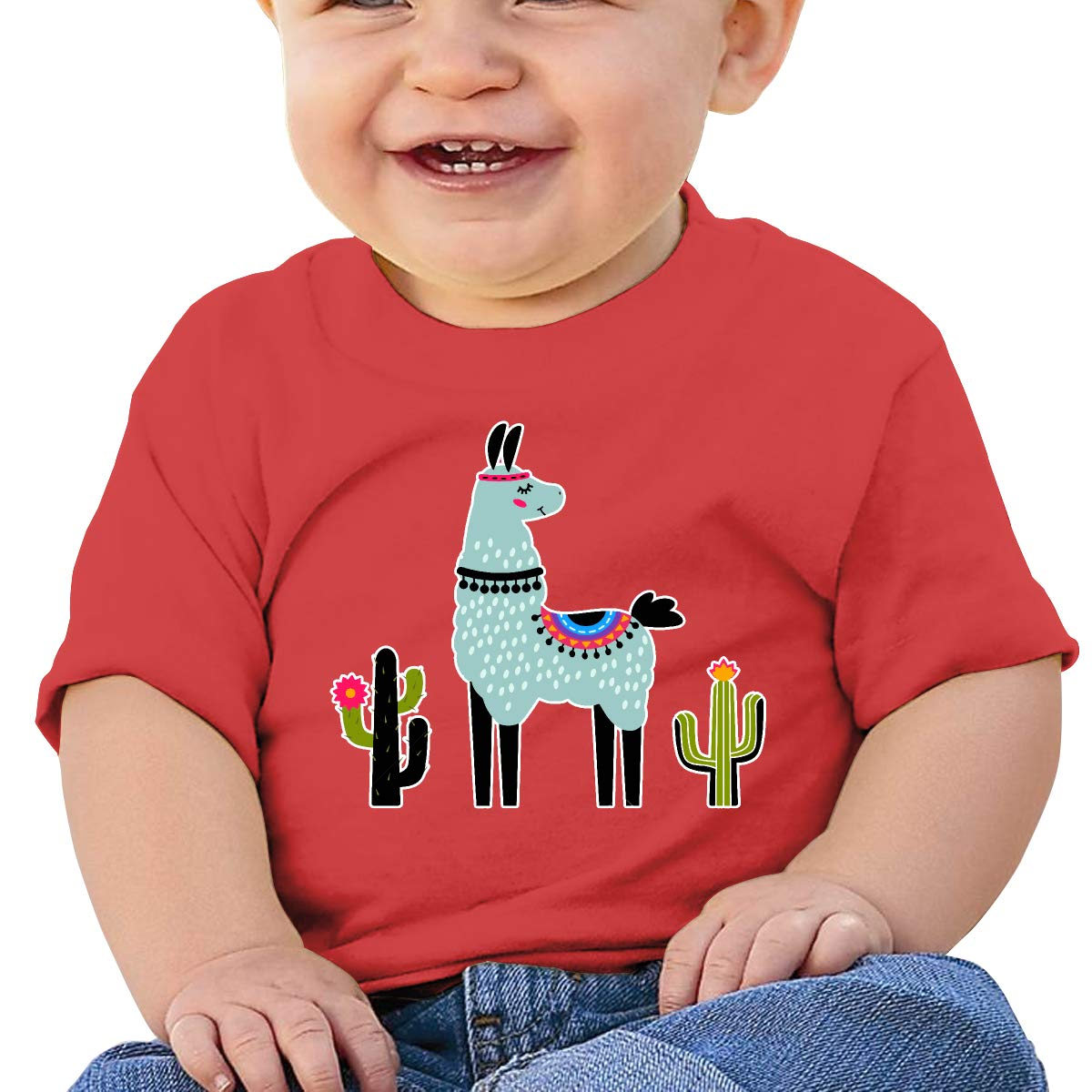 XHX403 Cute Llama with Cactus Infant Kids T Shirt Cotton Tee Toddler Baby 6-18M