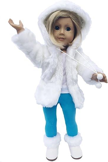 18 inch Doll Clothes /& Shoes Set Winter Coat Jacket White Fur Boots Pants