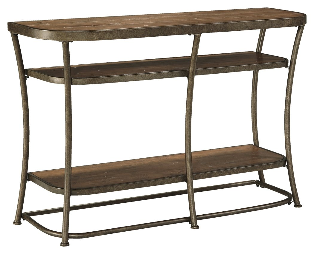 Nartina Sofa Table - 4 Fixed Shelves - Rustic Pine Shelves and Top - Vintage Casual - Light Brown