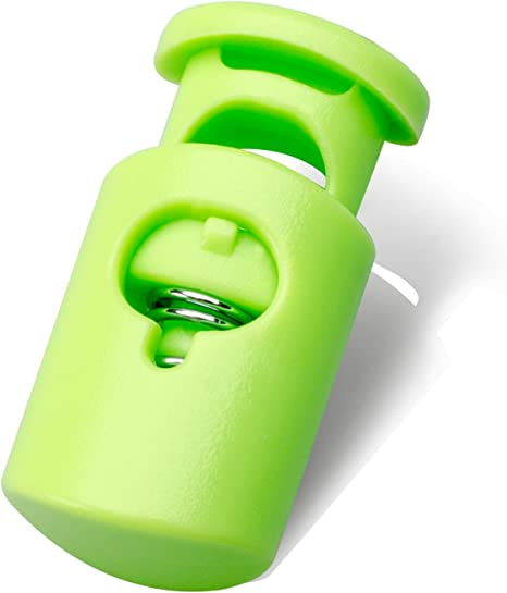 100PCS,Green Multi-Colour Plastic Cord Lock End Spring Stop Toggle Stoppers Heavy Duty Cord Lock Ideal for Lanyard,Luggage,Clothing,Backpack and Various Kinds of Outdoor and Gym Products
