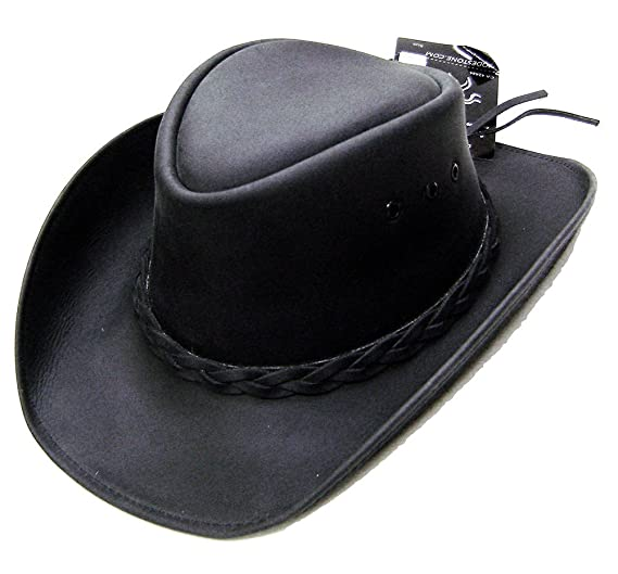 d24411bcbe6 Modestone Unisex Leather Cowboy Hat Black at Amazon Men s Clothing ...